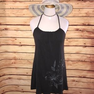 AEO Floral Beaded Charcoal Racerback Dress